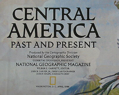 Central America National Geographic Map / Poster April 1986