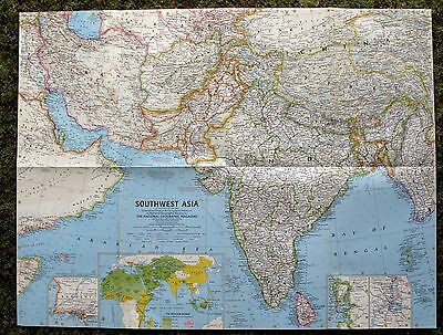 Southwest Asia National Geographic Map / Poster May  1963