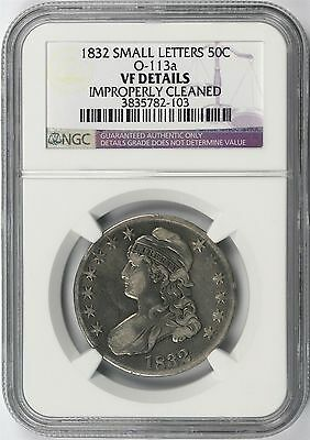 1832 Small Letters 50c O-113a Capped Bust Half Dollar NGC VF Details