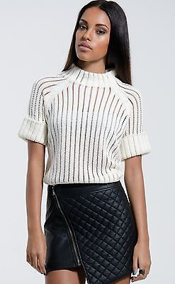 Ivory Sheer Knit Turtleneck Sweater
