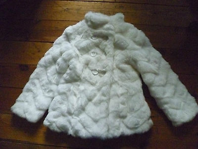 New Karuier Girls Winter White Faux Fur Double Breasted Jacket 4-5Y Ex Con