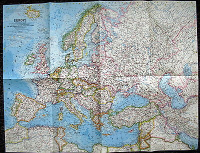 Europe 1962   National Geographic Map / Poster June 1962