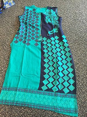 Designer Asian Pakistani Indian Ladies  Stitched 3 Piece Suit Large Casual Wear