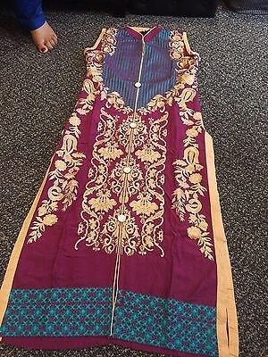 Designer Asian Pakistani Indian Ladies  Stitched 3 Piece Suit Medium Casual Wear