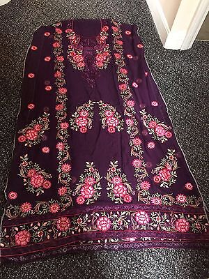 Designer Asian Pakistani Floral Thread work Chiffon Formal Wedding Party Wear