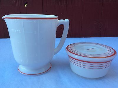 Vintage McKee 4 cup Measuring Footed Pitcher and Grease Jar