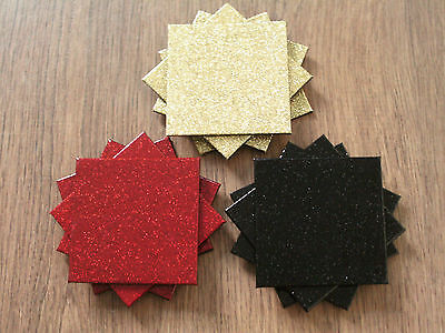 *NEW* Set of 4 Glitter Coasters - Red Black Gold - Christmas party