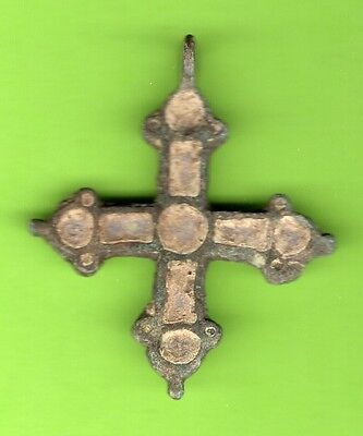 Russia Kiev type Bronze Enamel Cross Pendant Viking time 10-12th 361