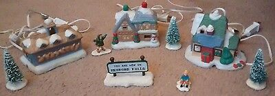 Christmas Village  Lot 10 Small light up House Decorations And More