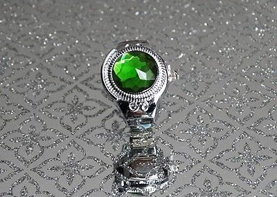 Adjustable Green Cover Quartz Finger Ring Watch with for Kids and Women