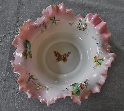 "Victorian Pink & White Hand Painted Floral & Butterfly 10"" Ruffled Brides Bowl"