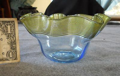 Antique Stevens & Williams Blue With Yellow Threaded Ruffled Finger Bowl
