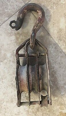 """Vintage Large Triple Three Rope Pulley Snatch Block 1"""" Rope Farm & Agriculture"""