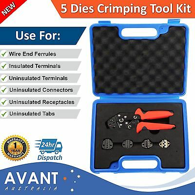 Crimping Tool Kit Set Ratchet Cable Wire Lug Crimper Bootlace Anderson Plug 50A