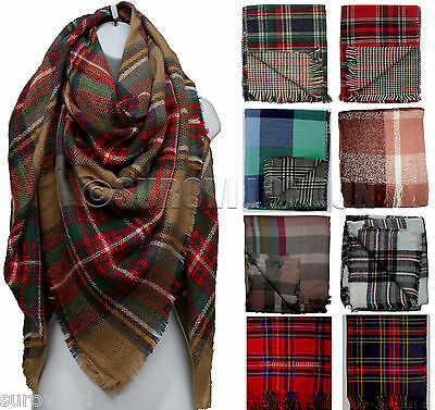 Ladies Large Double sided Tartan Check Plaid Oversized Blanket Scarf/Shawl/Wrap