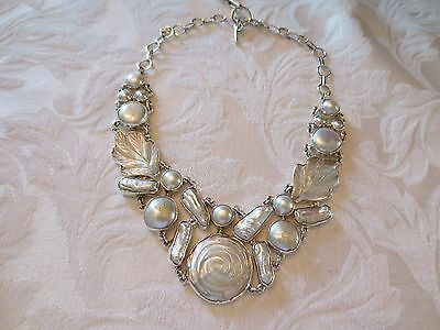 Taxco Mexico Silver and Carved Mother of Pearl Necklace