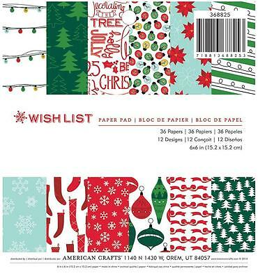 American Crafts WISH LIST 6x6 Paper Pad Christmas Scrapbook 36pc Pocket Page