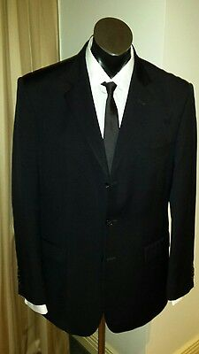 100% superfine wool BLACK SUIT by PETER JACKSON size 40/100R. (Pants 88 W)