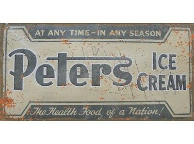 NEW Peters Ice Cream tin metal sign