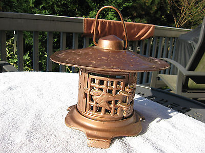Vintage Cast Iron Japanese Garden Lantern Pagoda Candle~Repainted