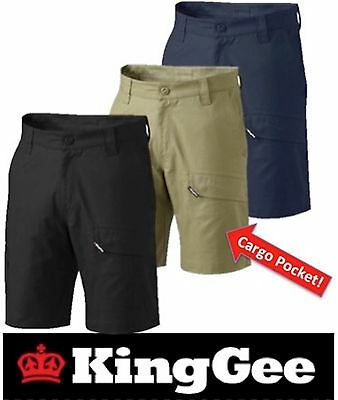 """King Gee- Pack Of 4- Mens 'workcool 2' Cotton """"ripstop Cargo  Work Shorts K17820"""