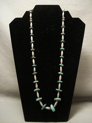 Early 1900's Vintage Navajo Hand Tooled Silver Turquoise Necklace Old