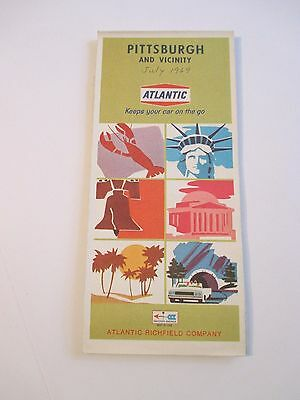 Vintage 1968 ATLANTIC PITTSBURGH PA Gas Service Station CITY Road Map