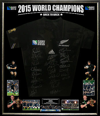 2015 New Zealand All Blacks World Champions Team Signed & Framed Jersey - Coa