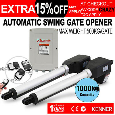 KENNER Double Actuator Automatic Motor Powered Remote Swing Gate Opener Operator
