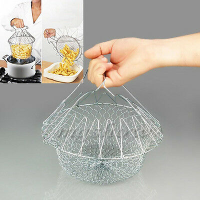 Steam Rinse Strain Chef Foldable Cooking Basket Deep Fry Flat Strainer Boiling