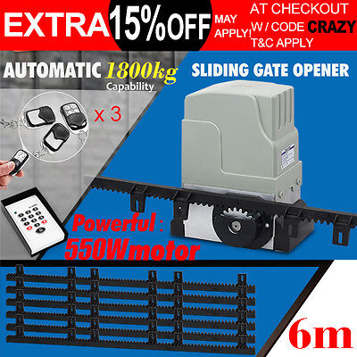 KENNER Sliding Electric Gate Opener 1800KG Automatic Motor Remote Kit Heavy Duty