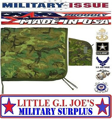 ALMOST LIKE A NEW ONE Military Issue Army USMC Marine Woodland Camo Poncho Liner