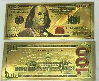 24K Pure  Colorized .999 GOLD US 100 Dollar Bill BANK NOTE FREE PLASTIC SLEEVE
