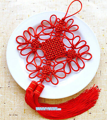 Handmade Red Chinese knot Long Tassels Rich & Safe Blessing Gift Home Decoration
