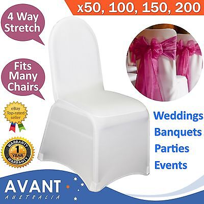 White Chair Covers Lycra Spandex Wedding Folding Banquet Event Party Stretch New