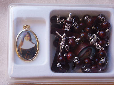 Australian Saint Mary Mackillop Wooden Rosary Beads & Coloured Picture Medal