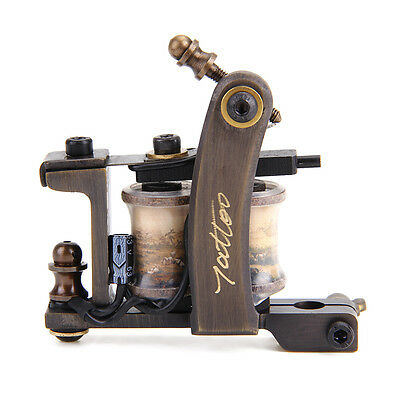 Professional handmade Copper Tattoo Machine 8 Wrap Coils Carved Shader Gun hot
