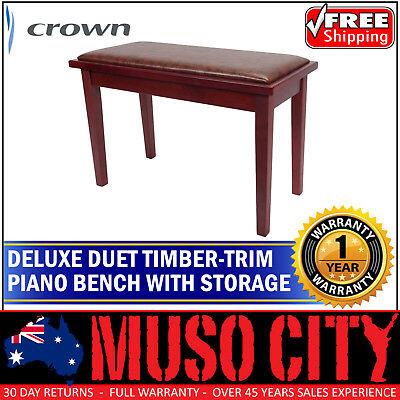 New Crown Deluxe Timber Trim Duet Piano Stool with Storage Compartment Mahogany