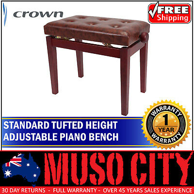 New Crown Standard Tufted Height Adjustable Piano Stool (Mahogany Gloss)