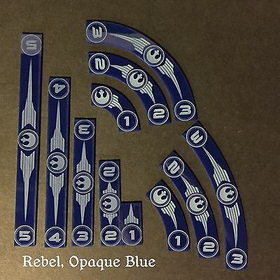 X Wing Rebel Acrylic Movement Templates, Opaque Blue