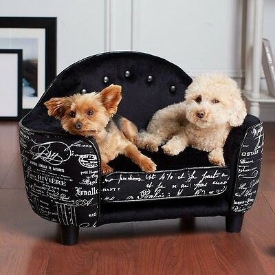 Premium Enchanted Home Dog Pet Bed ULTRA PLUSH Headboard Bed French Script Black