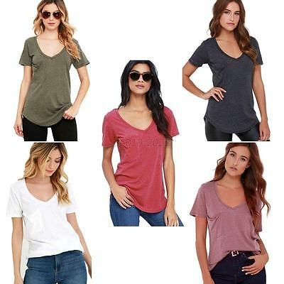 Women Ladies Casual Cotton Short Sleeve Solid Loose Basic Tee T-shirt Top Blouse