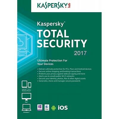 Kaspersky Total Security Multi-Device 2017 3 PC 1 Anno licenza ESD