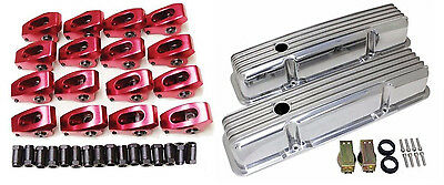 SBC Chevy 1.5 7/16'' Aluminum Roller Rockers Arms & 58-86 Polished Valve Covers
