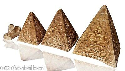 Set Pyramids Sphinx Scarab Pharaoh Figurine Statue Ancient Hand 3D Sculpture 223
