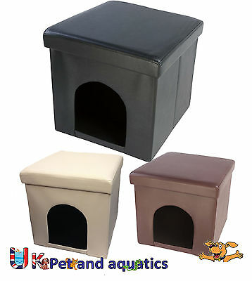 Cat Bed Box Leatherette With Removable Lid & Cushion Black, Brown & Cream