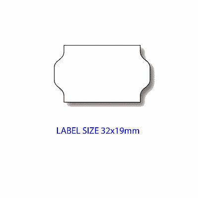 32x19mm WHITE PERM METO STYLE WAVY EDGE LABELS- FOR METO 732/1832/2132 - BOX 30K