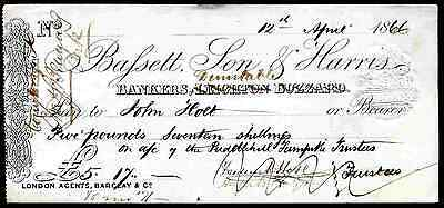 Bassett, Son, & Harris, Bankers, Dunstable, - Leighton Buzzard crossed out,1866.