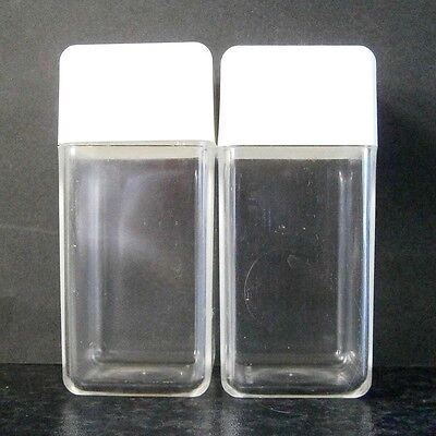 Funky Retro Vintage Square Clear Plastic Salt & Pepper Shakers White Tops