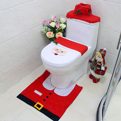 Toilet Seat Cover and Rug Bathroom Contour Rug for Home Christmas Decoration I6
